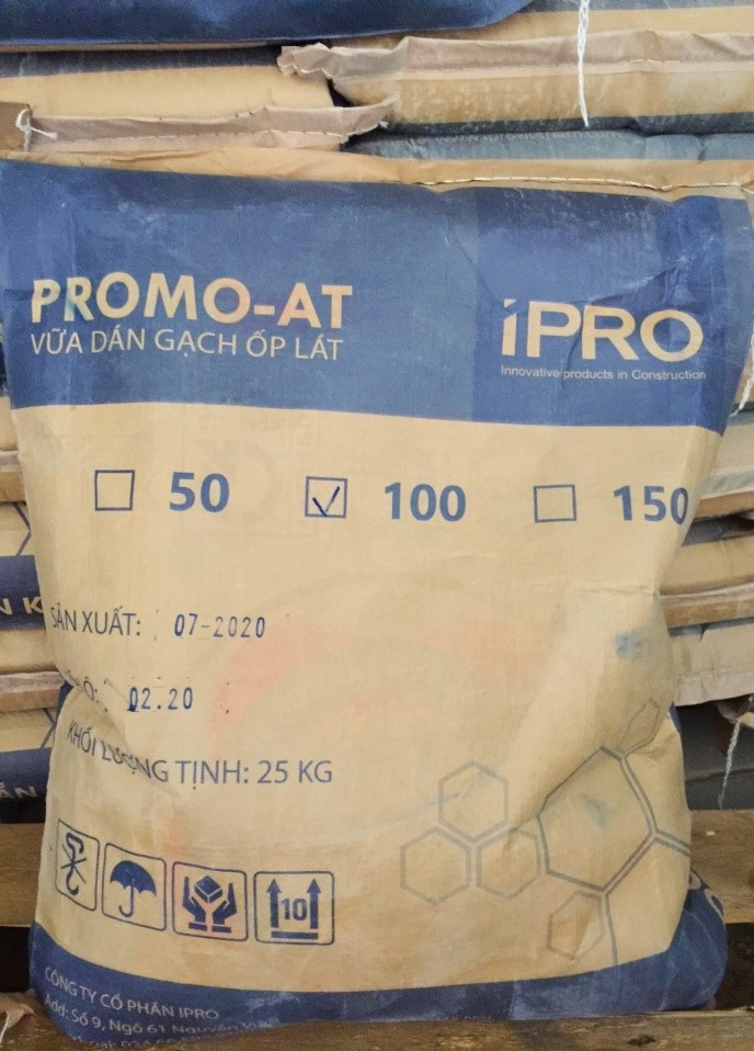 Hình 3: Vữa dán gạch ốp lát PROMO-AT100